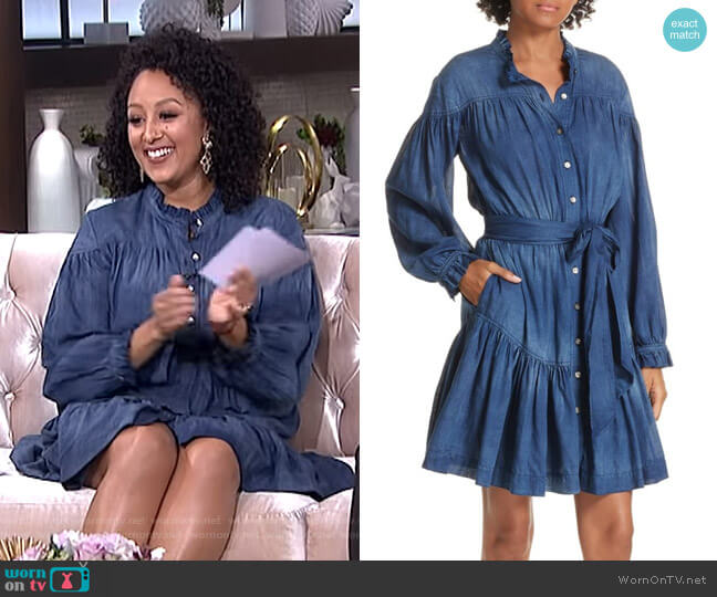 Tissue Denim Ruffle Minidress by Rebecca Taylor worn by Tamera Mowry  on The Real