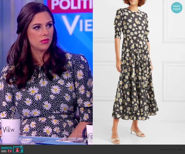 Kristen tiered floral-print cotton and silk-blend dress by Rixo worn by Abby Huntsman  on The View