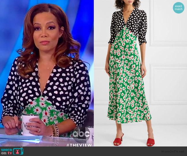 Martha printed silk crepe de chine midi dress by Rixo worn by Sunny Hostin  on The View