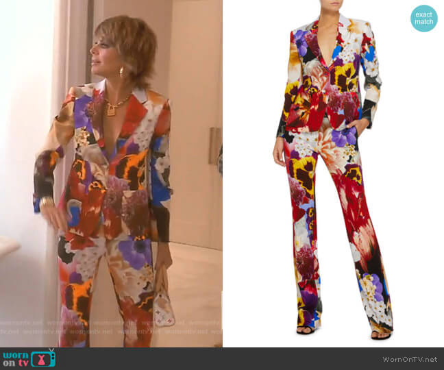 Floral-Print Single-Breasted Blazer and Trousers by Roberto Cavalli worn by Lisa Rinna  on The Real Housewives of Beverly Hills