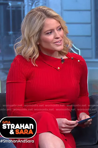 Sara's red ribbed button detail dress on GMA Strahan And Sara