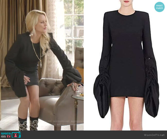 Oversized-Sleeve Minidress by Saint Laurent worn by Alexis Carrington (Elaine Hendrix) on Dynasty