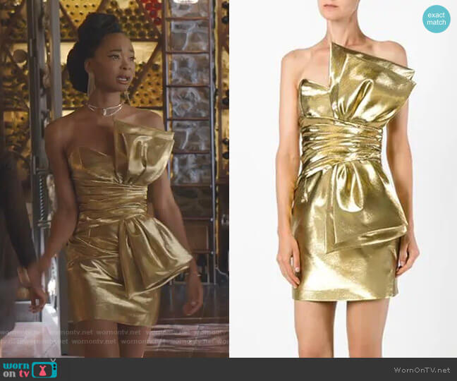Bow Mini Dress by Saint Laurent worn by Monica Colby (Wakeema Hollis) on Dynasty