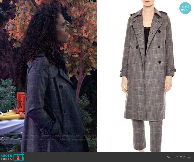 Sandro Roselier Plaid Trench Coat worn by Jordan Ashford (Briana Nicole Henry) on General Hospital