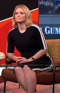 Sara's black side striped dress on GMA Strahan and Sara