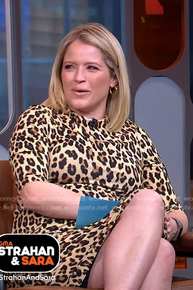 Sara's leopard print fitted dress on GMA Strahan And Sara