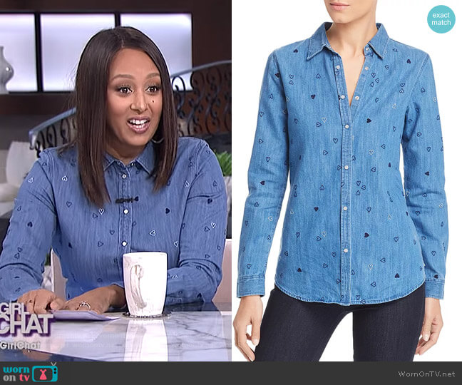 Heart Embroidered Denim Shirt by Scotch & Soda worn by Tamera Mowry  on The Real