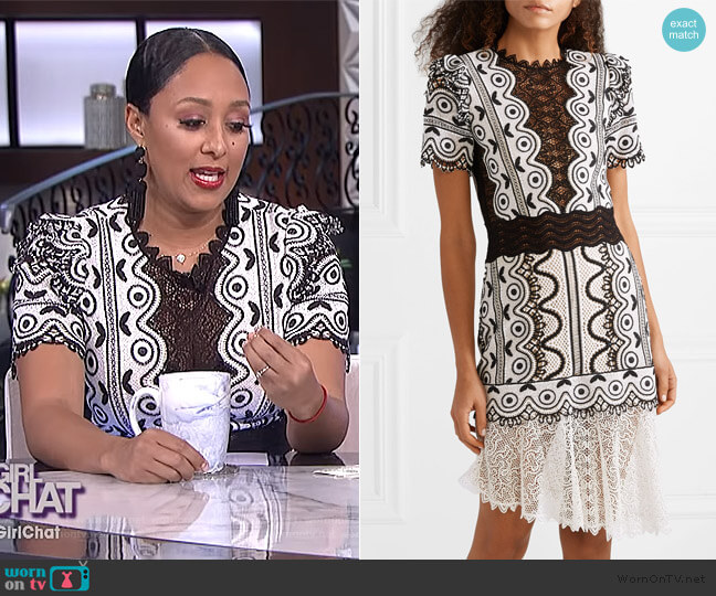 Lola Geometric Lace Hem Crochet Dress by Sea worn by Tamera Mowry (Tamera Mowry) on The Real