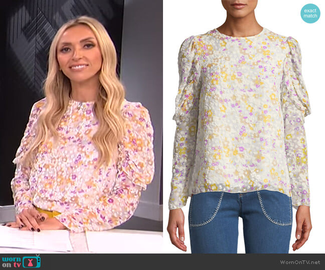 Floral Ruffle-Sleeve Crewneck Blouse by See by Chloe worn by Giuliana Rancic  on E! News