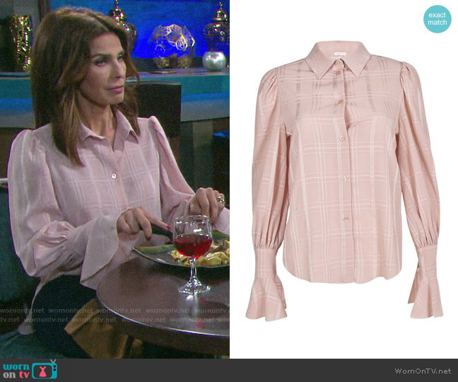 See by Chloe Fluid Checks Top worn by Hope Williams (Kristian Alfonso) on Days of our Lives