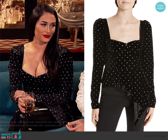 Asymmetrical Velvet Diamante Top by Self Portrait worn by Nikki Bella on Busy Tonight