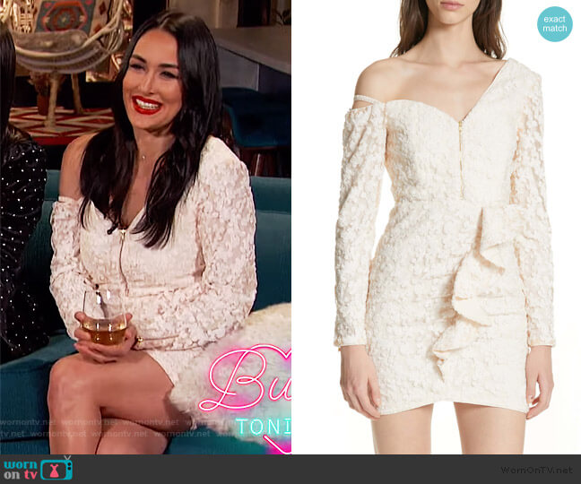 Floral Sequin One-Shoulder Minidress by Self Portrait worn by Brie Bella on Busy Tonight