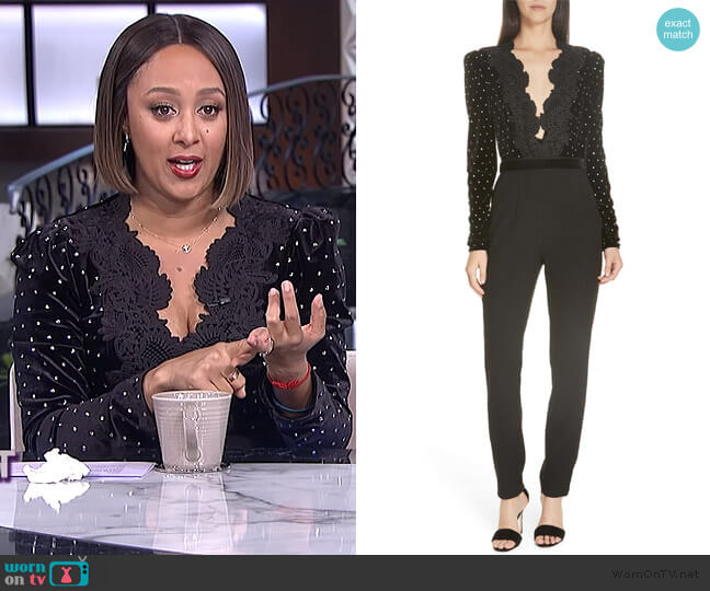 Lace Trim Velvet Diamante Jumpsuit by Self Portrait worn by Tamera Mowry  on The Real