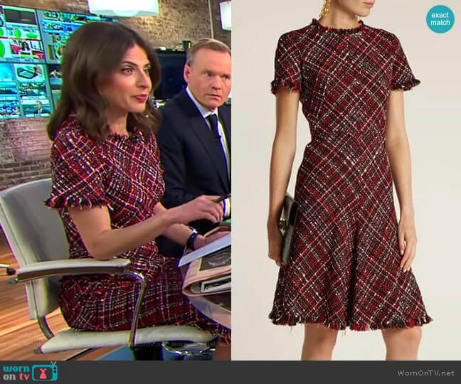 Short-Sleeved Tweed Dress by Alexander McQueen  worn by Bianna Golodryga  on CBS This Morning