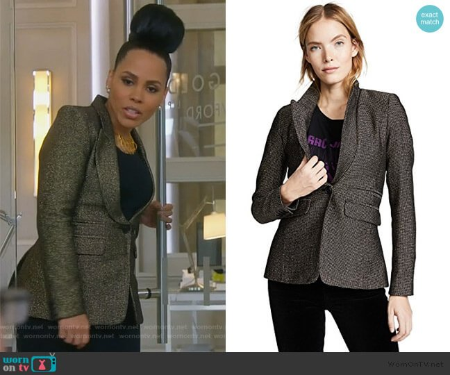 Peaked Lapel Blazer by Smythe worn by Tegan Price (Amirah Vann) on HTGAWM