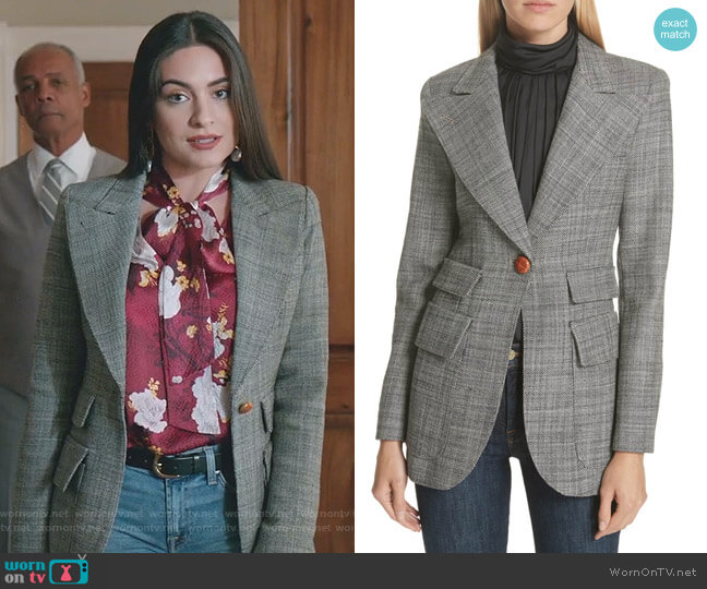 Birkin Blazer by Smythe worn by Cristal Jennings (Daniella Alonso) on Dynasty