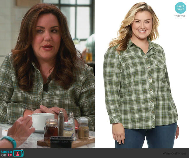 Essential Supersoft Flannel Shirt by Sonoma Goods for Life worn by Katie Otto (Katy Mixon) on American Housewife