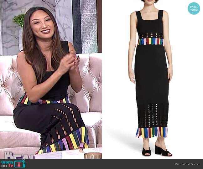 Paradise Rainbow Fringe Crop Top and Maxi Skirt by Staud worn by Jeannie Mai (Jeannie Mai) on The Real