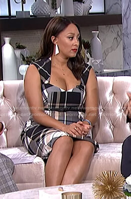 Tamera's plaid sheath dress on The Real