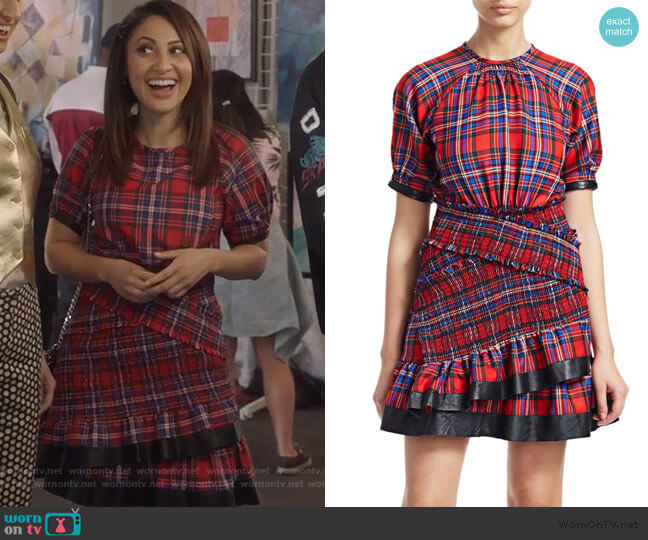 Nicole Plaid Ruffled Mini Dress by Tanya Taylor worn by Ana Torres (Francia Raisa) on Grown-ish
