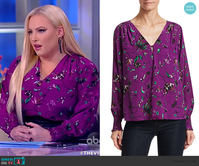 Vines Silk V-Neck Top by Tanya Taylor worn by Meghan McCain  on The View