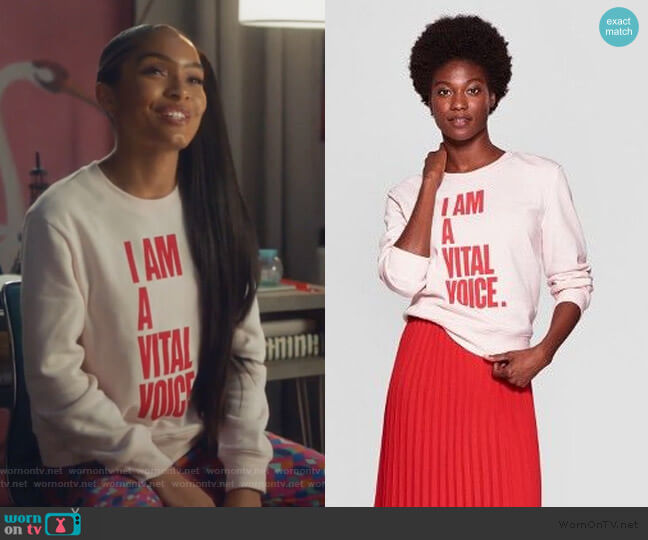 Vital Voices Sweatshirt by Target worn by Zoey Johnson (Yara Shahidi) on Grown-ish