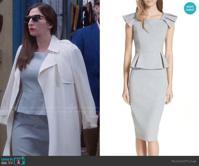 Ted Baker Daizid Pleat Shoulder Peplum Dress worn by Gina Linetti (Chelsea Peretti) on Brooklyn Nine-Nine