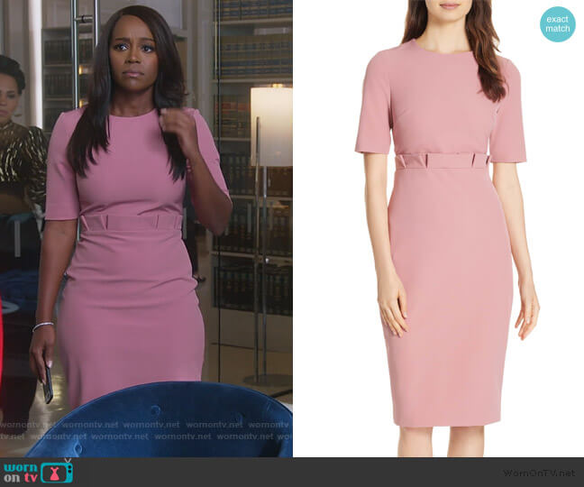 Maggidd Ruffle Waist Pencil Dress by Ted Baker worn by Michaela Pratt (Aja Naomi King) on HTGAWM