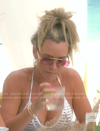 Teddi's white strappy bikini and pink sunglasses on The Real Housewives of Beverly Hills