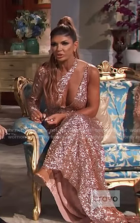 Teresa's sequin cutout gown on The Real Housewives of New Jersey