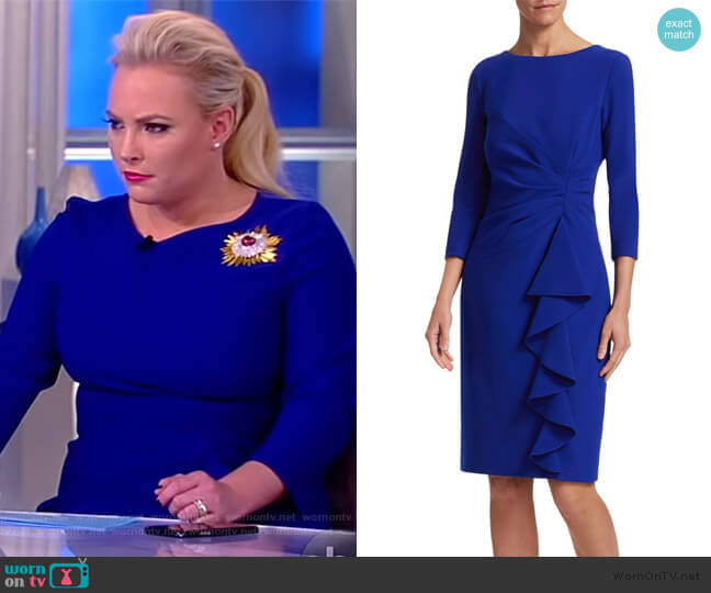 Crepe Side Ruffle Sheath Dress by Teri Jon by Rickie Freeman worn by Meghan McCain  on The View