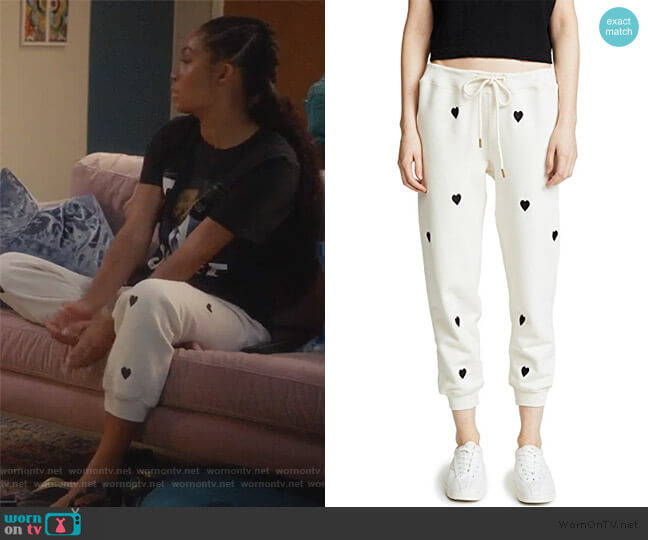 The Cropped Sweatpants by The Great worn by Zoey Johnson (Yara Shahidi) on Grown-ish