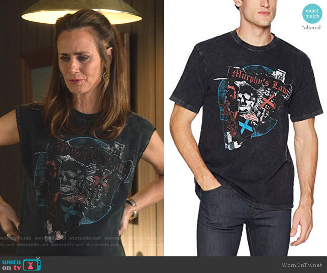 Graphic T-Shirt with Skull and Punk Rock  by The Kooples worn by Maya (Diane Farr) on Splitting Up Together