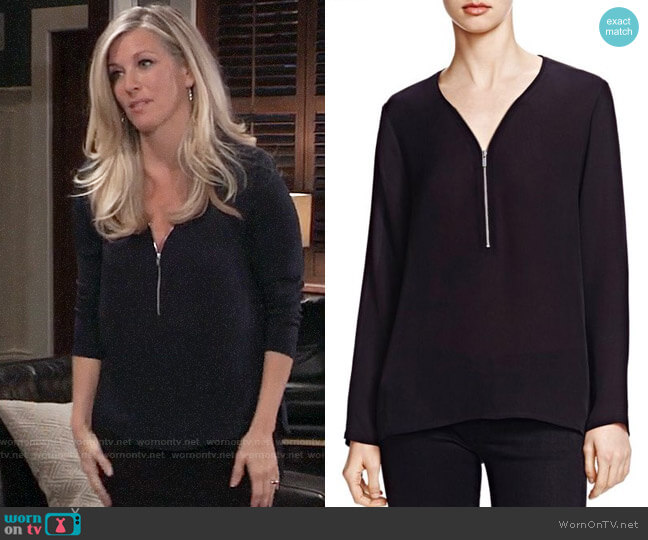 The Kooples Half Zip Silk Top worn by Carly Corinthos (Laura Wright) on General Hospital