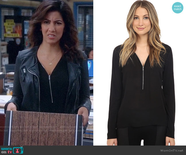 The Kooples Long Sleeve Signature T-Shirt in Silk and Jersey worn by Rosa Diaz (Stephanie Beatriz) on Brooklyn Nine-Nine