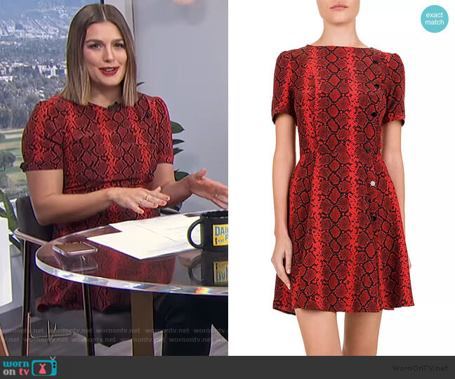 Red Hot Snake-Print Midi Dress by The Kooples worn by Carissa Loethen Culiner  on E! News