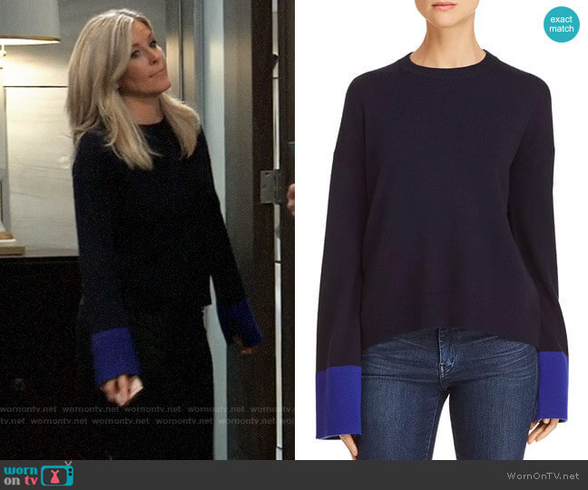 Theory Color-Block Wool & Cashmere Sweater worn by Carly Corinthos (Laura Wright) on General Hospital