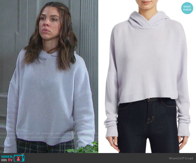 Theory Cropped Cashmere Hoodie worn by Abigail Deveraux (Kate Mansi) on Days of our Lives