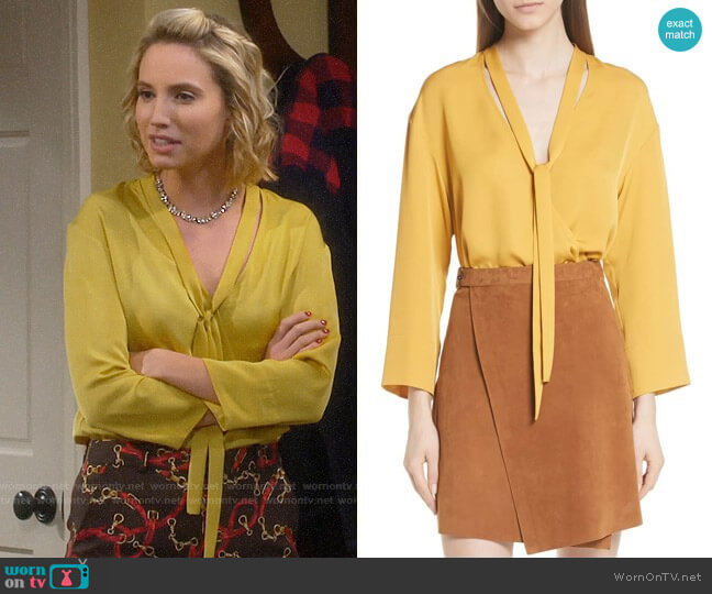 Theory Faux Wrap Silk Blouse worn by Mandy Baxter (Molly McCook) on Last Man Standing
