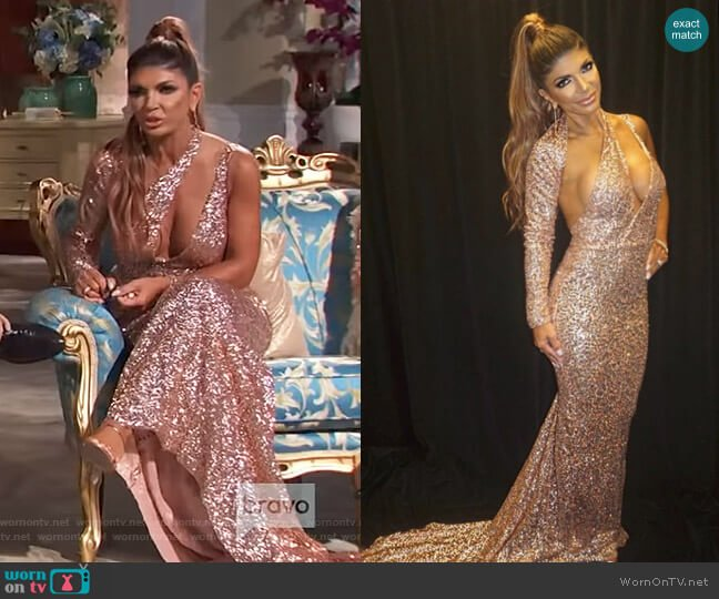 Rose Sequin Gown by Tumbler and Tipsy by Michael Kuluva worn by Teresa Giudice  on The Real Housewives of New Jersey