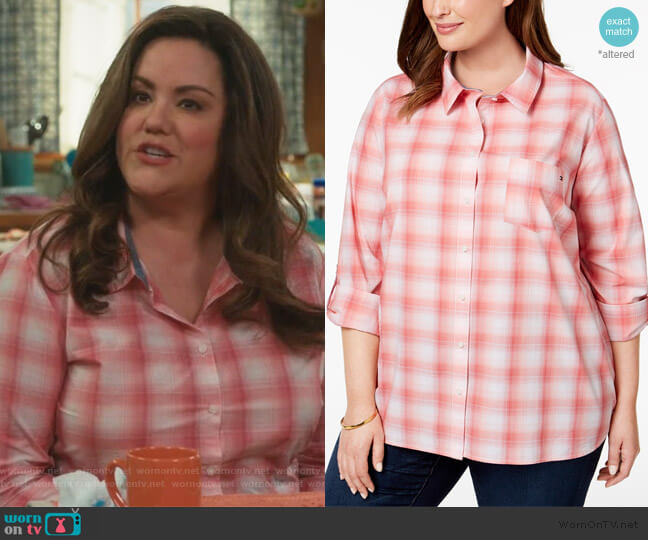 Plus Size Cotton Plaid Tab-Sleeve Shirt by Tommy Hilfiger worn by Katie Otto (Katy Mixon) on American Housewife