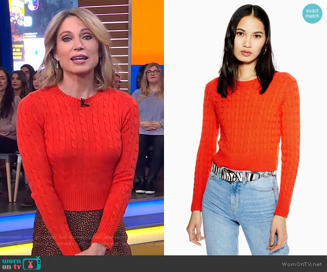 Cable Crop Jumper with Cashmere by Topshop worn by Amy Robach  on Good Morning America