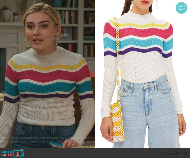 Chevron Stripe Crop Sweater by Topshop worn by Taylor Otto (Meg Donnelly) on American Housewife