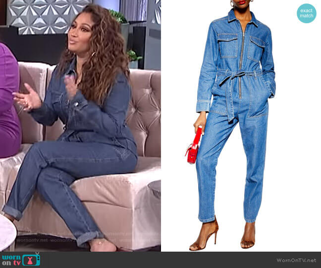 Denim Utility Boilersuit by Topshop worn by Adrienne Houghton  on The Real