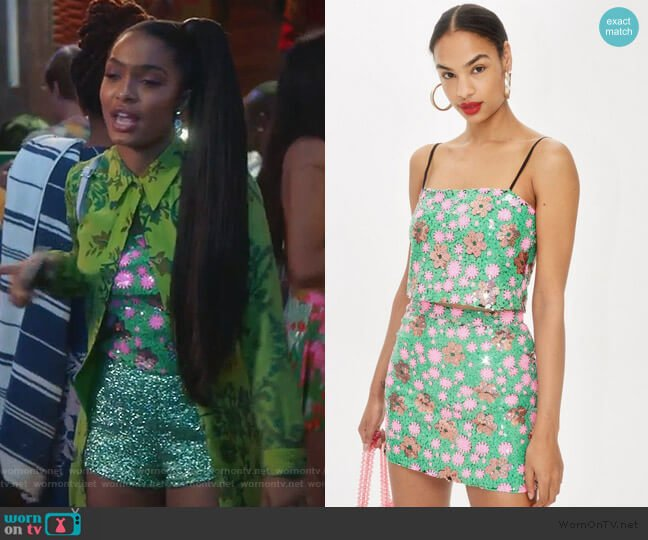 Flower Sequin Cami Top by Topshop worn by Zoey Johnson (Yara Shahidi) on Grown-ish