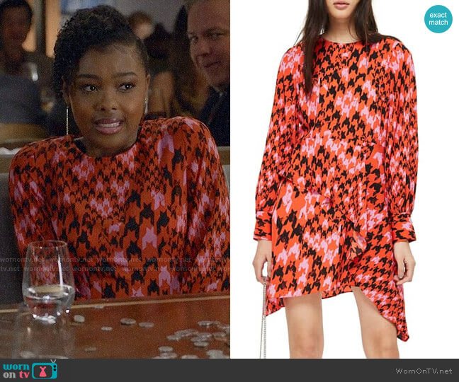 Topshop Houndstooth Asymmetrical Dress  worn by Niecy (Monique Green) on Black-ish
