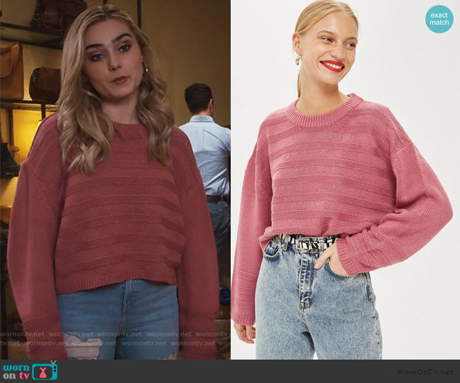 Ottoman Cropped Jumper by Topshop worn by Taylor Otto (Meg Donnelly) on American Housewife