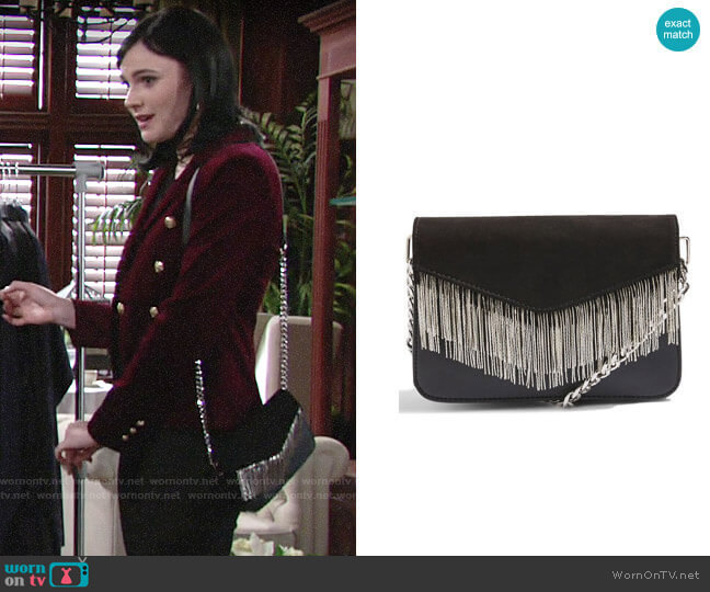 Topshop Remy Chain Flap Faux Leather Crossbody Bag worn by Tessa Porter (Cait Fairbanks) on The Young & the Restless