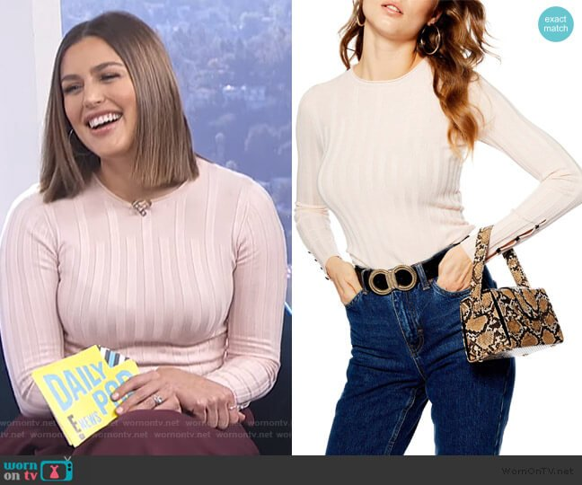 Ribbed Sweater by Topshop worn by Carissa Loethen Culiner (Carissa Loethen Culiner) on E! News