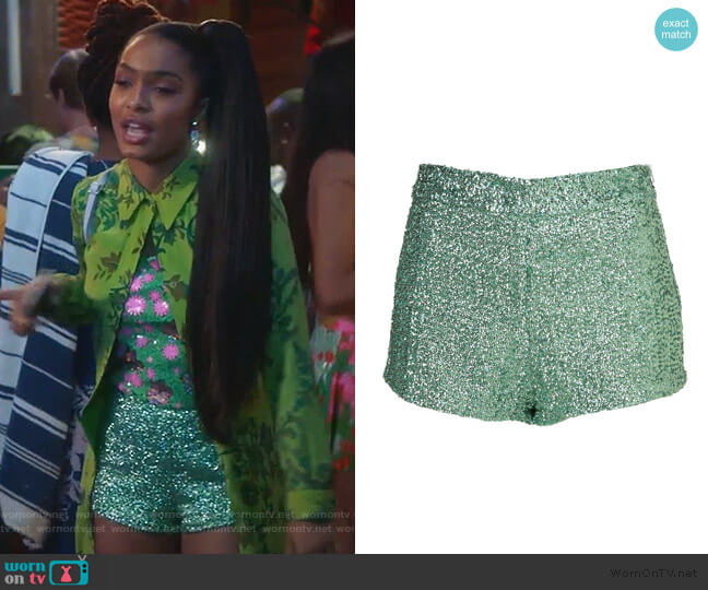 Sequin Knicker Shorts by Topshop worn by Zoey Johnson (Yara Shahidi) on Grown-ish
